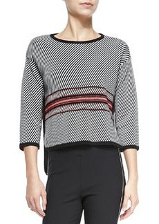 Dawn 3/4-Sleeve Striped Pullover   Dawn 3/4-Sleeve Striped Pullover