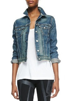 Distressed Cropped Jean Jacket   Distressed Cropped Jean Jacket