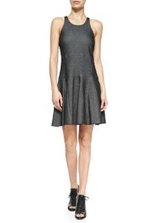 Enigma Cotton-Blend Fit-and-Flare Dress, Black   Enigma Cotton-Blend Fit-and-Flare Dress, Black