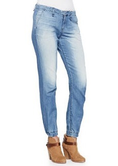 Faded Denim Elastic-Cuff Jeans   Faded Denim Elastic-Cuff Jeans