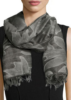 Gracie Textured Wool Scarf, Charcoal   Gracie Textured Wool Scarf, Charcoal