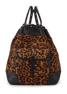 Grayson Leopard-Print Calf Hair Backpack   Grayson Leopard-Print Calf Hair Backpack