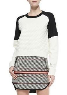 Kelsie Textured Dropped-Sleeve Sweatshirt   Kelsie Textured Dropped-Sleeve Sweatshirt