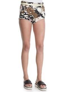 Knit Camo-Print Micro Shorts   Knit Camo-Print Micro Shorts