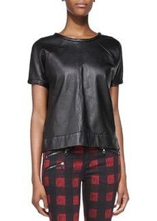 Lambskin Leather Sweatshirt, Black   Lambskin Leather Sweatshirt, Black