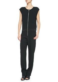 Mareth Cap-Sleeve Jumpsuit, Caviar   Mareth Cap-Sleeve Jumpsuit, Caviar