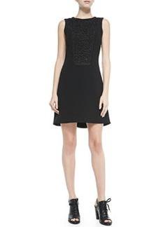 Mijo Sleeveless Dress W/ Lace Bodice Panel   Mijo Sleeveless Dress W/ Lace Bodice Panel