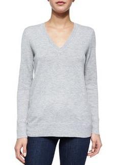 Natalie Slub-Knit V-Neck Sweater, Gray   Natalie Slub-Knit V-Neck Sweater, Gray