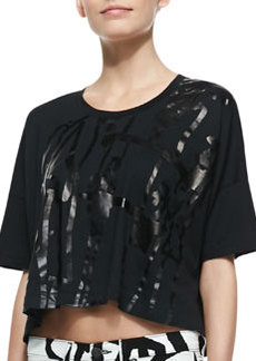 Noah Tape-Pattern Cropped Tee   Noah Tape-Pattern Cropped Tee