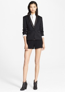 rag & bone 'Harper' Leather Collar Wool Blazer