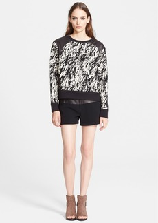 rag & bone Leather Trim Jacquard Sweatshirt
