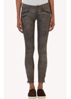 Rag & Bone Leopard-Print Leather Moto Jeans