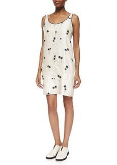 Rag & Bone Natalie Sleeveless Palm-Tree-Print Dress, Whitecap