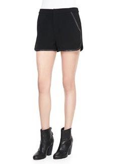 Rag & Bone Platini Leather-Trim Shorts
