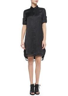 Rag & Bone The Shirtdress with Double-Layer Hem, Black