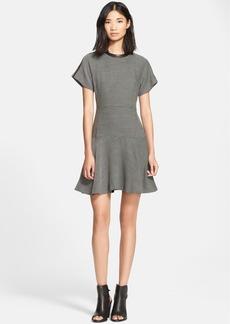 rag & bone 'Watson' Leather Trim Flared Dress