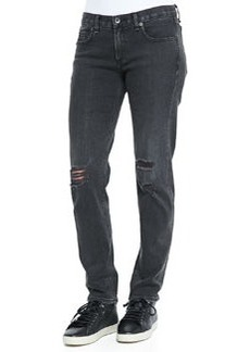 rag & bone/JEAN Boyfriend Low-Rise Distressed Jeans, Rock