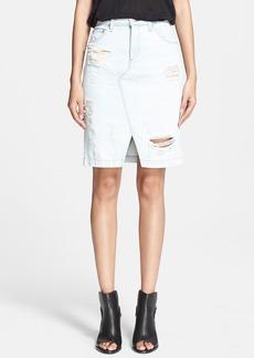 rag & bone/JEAN Distressed Denim Skirt (Shredded Norte)