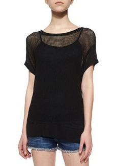 rag & bone/JEAN Odette Mesh-Knit Tee, Black