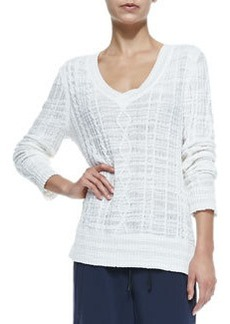 Shana V-Neck Cable-Knit Sweater   Shana V-Neck Cable-Knit Sweater
