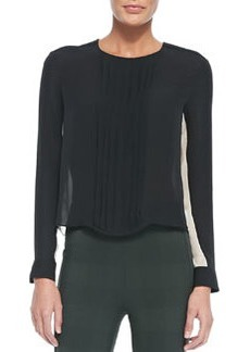 Simone Pintucked Contrast-Side Blouse   Simone Pintucked Contrast-Side Blouse