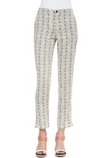Stanley Cropped Printed Pants with Leather-Trimmed Pockets, Multicolor   Stanley Cropped Printed Pants with Leather-Trimmed Pockets, Multicolor