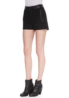 Tatiana Leather-Trim Shorts   Tatiana Leather-Trim Shorts