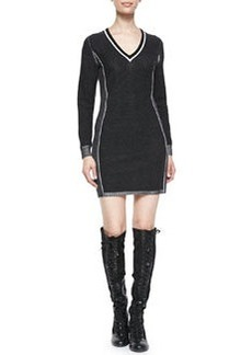 Taylor Metallic-Trim Sweaterdress   Taylor Metallic-Trim Sweaterdress