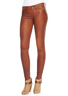 The Leather Skinny Pants, Washed Cognac   The Leather Skinny Pants, Washed Cognac