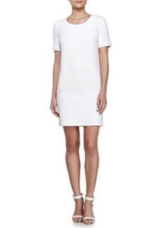 Vonda Textured Shift Dress, White   Vonda Textured Shift Dress, White