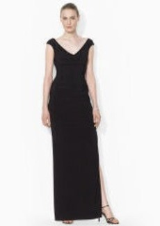 Beaded Jersey V-Neck Gown