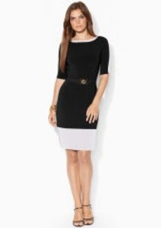 Belted Boatneck Dress