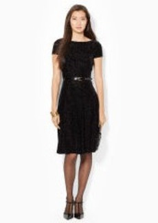 Belted Velvet-Burnout Dress