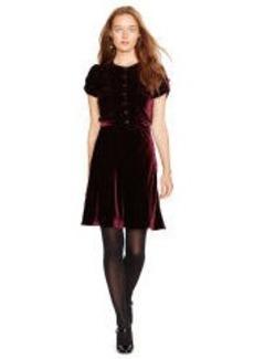 Button-Front Velvet Dress