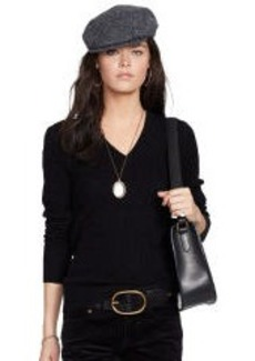 Cabled Cashmere V-Neck Sweater