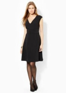 Cap-Sleeved V-Neck Dress