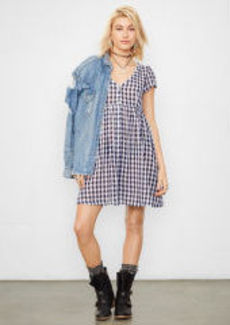 Checked Button-Front Dress