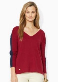 Color-Blocked V-Neck Sweater
