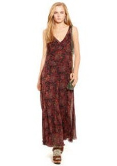 Crinkled-Silk Floral Maxidress