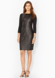 Faux-Leather-Trim Dress