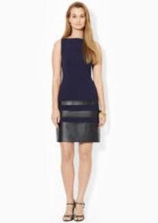 Faux-Leather-Trim Dress