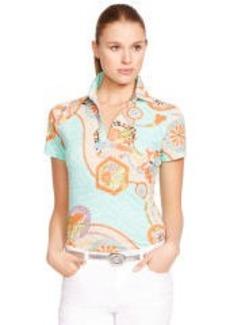 Floral V-Neck Polo Shirt
