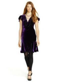 Flutter-Sleeved Velvet Dress