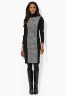 Houndstooth Turtleneck Dress