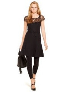 Lace-Trim Belted Crepe Dress