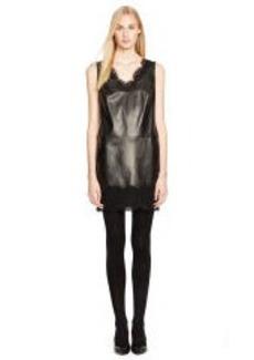 Lace-Trim Leather Vienna Dress