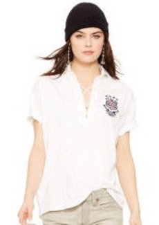 Lace-Up Polo Shirt