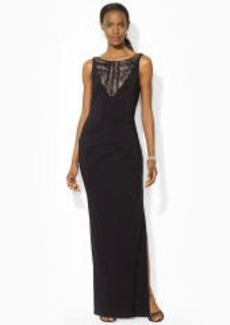 Lace-Yoke Boatneck Gown