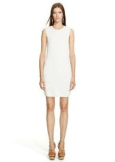Lambskin-Trim Crewneck Dress