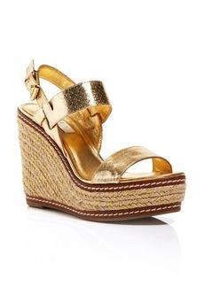Lauren Ralph Lauren Espadrille Platform Wedge Sandals - Serana Metallic Snakeskin